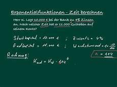 exponentialfunktion zeit berechnen