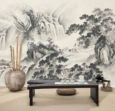 peinture asiatique en noir et blanc paysage zen grande