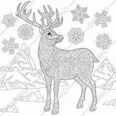 weihnachtsren hirsch winter schneeflocken malvorlage