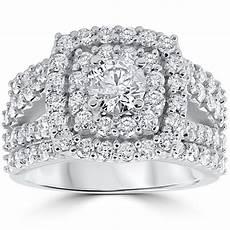 3 ct diamond engagement wedding double cushion halo trio ring 10k white gold ebay