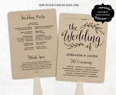 printable wedding program template rustic wedding fan program wedding fans editable text 5x7