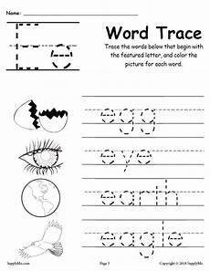 letter e worksheets 24106 letter e words free alphabet tracing worksheet supplyme