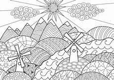 landscape with mills l scapes coloring pages