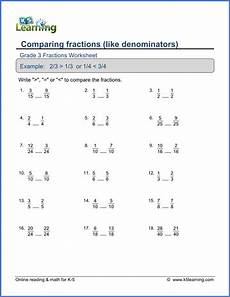fraction worksheets identifying numerator and denominator 4041 grade 3 math worksheets comparing fractions with like denominators k5 learning