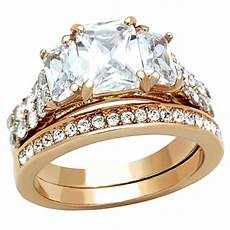 4 5 cttw emerald cut cz rose gold ip wedding engagement ring set women s sz 5 10 ebay