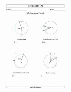 geometry circle worksheets 661 the calculating circle arc length from circumference radius or diameter a math worksheet from