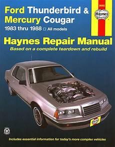 free online auto service manuals 1996 mercury cougar on board diagnostic system ford thunderbird mercury cougar repair manual 1983 1988 haynes