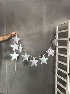 Girlande Sterne Mint Grau Girlande Kinderzimmer