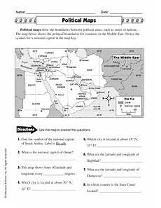 types of maps worksheet middle school 11616 political maps worksheet for 5th 6th grade lesson planet