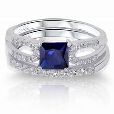 princess cut blue sapphire engagement wedding sterling