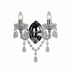 marie therese 2 lights clear chrome wall bracket