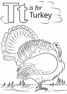 T Is For Thanksgiving Coloring Pages T Is For Turkey Coloring Page Free Printable Coloring Pages