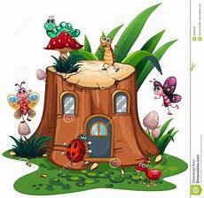 Malvorlagen Insekten Um Viele Insekten Um Den Stumpfbaum Vektor Abbildung