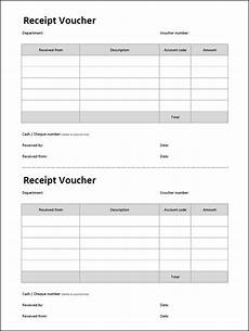 receipt voucher template double entry bookkeeping