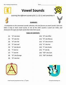 reading comprehension worksheet vowel sounds collection