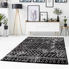 schwarzer teppich flachflor teppich timeless 7547 schwarz teppich