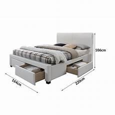Lit Blanc Design 160x200cm Avec Sommier Et Tiroirs Mariano