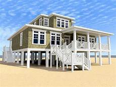 small beach house plans on pilings beach house plans two story coastal home plan 052h