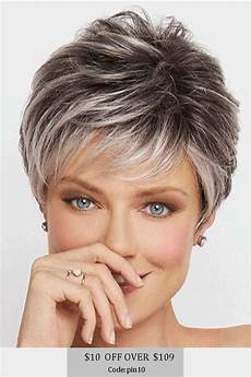 salt and pepper short hairstyles for women over 50 salt and pepper short choppy layered synthetic capless wigs haircut for older women short