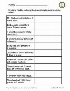 multiplication sentence worksheets for grade 3 4813 create multiplication sentences worksheet 4 oa 1 by wheelsjr teaching resources tes