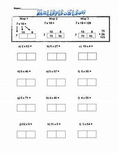 box method multiplication sheet 2x1 digit by the fours next door