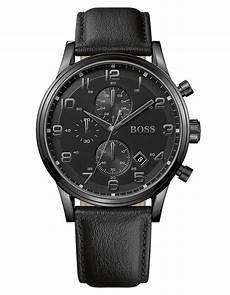 boss uhren herren schwarz s chronograph black leather 44mm 1512567 in