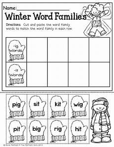 winter phonics worksheets for kindergarten 20143 winter math and literacy packet kindergarten word families winter words kindergarten reading