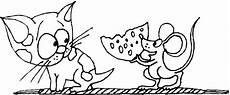 katze und maus mit kaese ausmalbild malvorlage comics