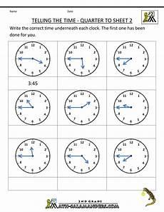 2nd grade telling time printable worksheets clock worksheets quarter past and quarter to