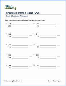 grade 5 math worksheet factoring greatest common factor of two numbers 1 50 k5 learning