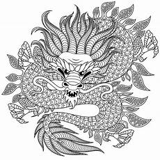 circular dragons coloring pages
