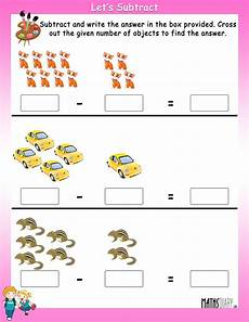 subtraction objects worksheets 10212 subtract by crossing the objects worksheets math worksheets mathsdiary