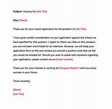 rejection letter before an interview sle letters