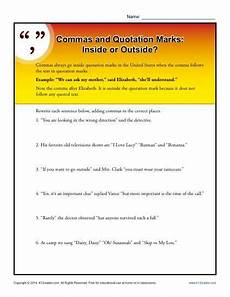 punctuation worksheets 20850 commas and quotation marks inside or outside quotation marks quotation marks