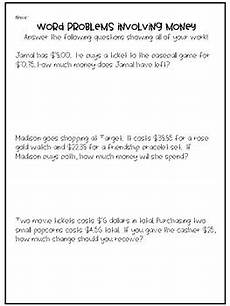 decimals word problems worksheets grade 4 7458 4th grade decimal word problems involving money by whid s world tpt
