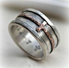 mens cross wedding band rustic hammered cross ring oxidized