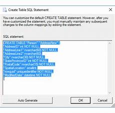 create table sql statement sql server import and export