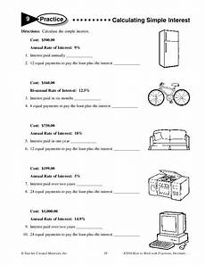 calculating simple interest worksheet for 6th 7th grade lesson planet