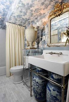 Bathroom Inspiration With Wallpaper Raphael Light Blue