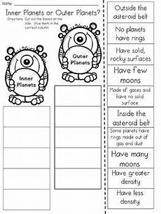 inner and outer planets cut and paste sorting activity by jh lesson design