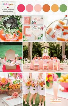 pink and orange summer wedding colours palette