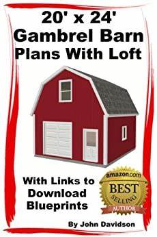 gambrel barn house plans amazon com 20 x 24 gambrel barn plans with loft