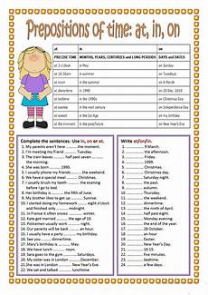 preposition of time worksheets for grade 3 3491 prepositions of time in on at worksheet free esl printable worksheets made by teachers