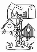 Bird House Under Mail Box Coloring Pages  Best Place To Color