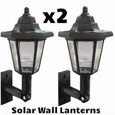 x2 led solar power wall lantern l sun lights black outdoor garden ebay