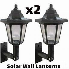 x2 led solar power wall lantern l sun lights black outdoor garden ebay