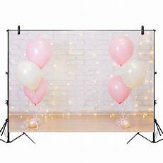 5x3ft 7x5ft 9x6ft Birthday Pink Balloon by Backdrops 5x3ft 7x5ft 9x6ft Pink White Balloons Gray
