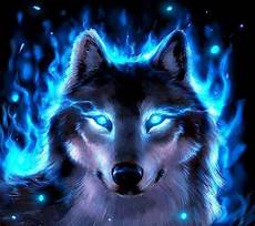 Blue Neon Wolf Wallpaper