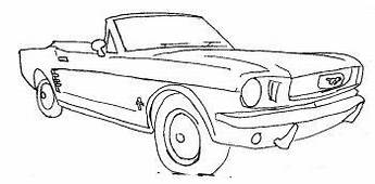 Convertible Ford Mustang Car Coloring Page