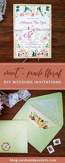 my diy story peach mint floral wedding invitation